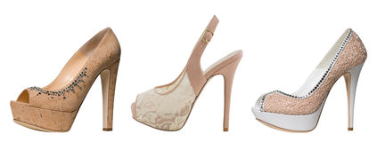 Beige fashion shoes Royalty Free Stock Photos
