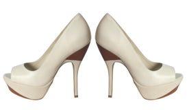 Beige fashion shoes Stock Photos
