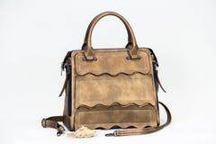 Fashionable women bag. Beige fashionable textured women bag Stock Images