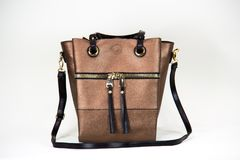 Fashionable women bag. Beige fashionable women bag with texture Royalty Free Stock Image