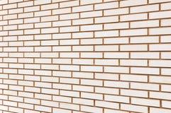Beige feine Backsteinmauerbeschaffenheits-Hintergrundperspektive, großes ausführliches horizontales strukturiertes Muster Lizenzfreies Stockbild