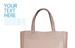 Beige female bag isolated on white background Royalty Free Stock Photo