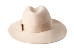 Beige female felt hat isolated on white Royalty Free Stock Photos
