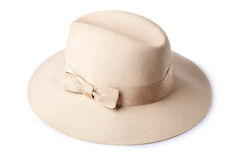 Beige female felt hat isolated on white Stock Image