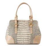 Beige Female Handbag Isolated On White Background. Royalty Free Stock Photos