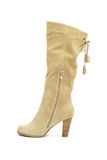 Beige female shammy boot Royalty Free Stock Photography