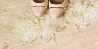 Beige female shoes. top view Stock Image