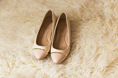 Beige female shoes. top view Stock Photo
