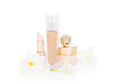Beige feminine make up and cosmetic products. Stock Photo