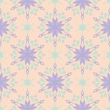 Beige floral background. Seamless pattern with violet and blue elements. For wallpapers, textile and fabrics Stock Photos