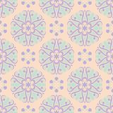 Beige floral background. Seamless pattern with violet and blue elements. For wallpapers, textile and fabrics Stock Photography