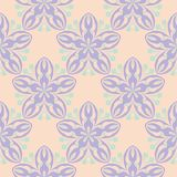 Beige floral seamless pattern with violet and blue designs. For wallpapers, textile and fabrics Stock Image