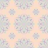 Beige floral seamless pattern with violet and blue designs. For wallpapers, textile and fabrics Stock Photo