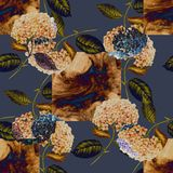 Beige fond and flowers Hydrangea on blue background. Seamless pattern for design. Delicate fond  flower branch hydrangea design beige background leaf handiwork vector illustration