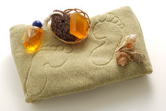 Beige foot SPA set with soap and pumice Stock Photos