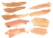 Beige foundation make up isolate collection.  Stock Photo
