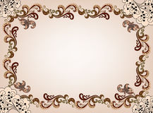 Beige frame with curls Stock Image