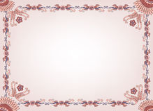 Beige frame with a floral border and abstract patt Royalty Free Stock Photos
