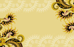 Beige frame with paisley pattern Stock Images