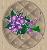 Beige frame and purple flowers Royalty Free Stock Images
