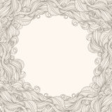 Beige frame with waves. Frame with abstract pattern on beige background Royalty Free Stock Images