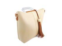 Beige Frauenhandtasche Lizenzfreie Stockfotos
