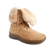 Beige  fur  boot Royalty Free Stock Image