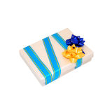 Beige gift box. With two bows. Blue and yellow Stock Photos