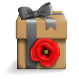 Beige gift box. Vector illustation of a beige gift box with red poppy and grey ribbon Stock Image