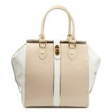 Beige glossy female leather handbag isolated on white background. Stock Images