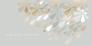 Beige gold autumn leaves and rain drops. Beige gold and gray autumn leaves and rain drops. Design element for header, card, invitation, poster, cover and other stock illustration