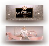 Beige grand opening party invitation cards with sparkling dust, frame and ribbon. Stock Photography