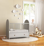 Beige and grey nursery baby room with rug Stock Images