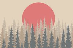 Beige and grey shapes fir forest, red sun on light beige, design elements, vector Stock Images