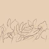 Beige grunge autumn leaves border banner background, vector Stock Photo