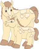 Beige häst och föl Royaltyfri Fotografi