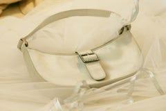 Beige handbag 2. Diamond buckled beige feminine handbag Royalty Free Stock Photo