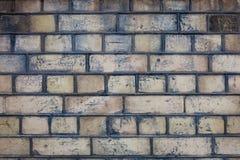 Beige het huisbuitenkant van de hitebakstenen muur De rijen van bakstenen Royalty-vrije Stock Foto's