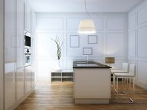 Beige Hi-Tech Kitchen With Bar and lighter Stock Photo