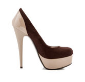Beige high heel shoes isolated on white Royalty Free Stock Photography