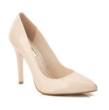 Beige high heel shoes isolated on white Stock Photography