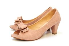 Beige high heel shoes Royalty Free Stock Photos