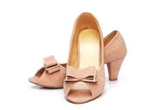 Beige high heel shoes Royalty Free Stock Images