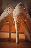 beige high heel women shoes Royalty Free Stock Images