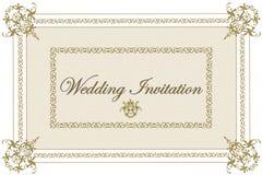 Beige Hochzeits-Einladung Stockfoto