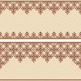 Beige invitation vector card with vintage ornament Royalty Free Stock Photos
