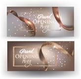 Beige Karten der eleganten festlichen Eröffnung mit realictic Bändern stock abbildung