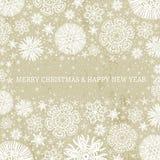 Beige Kerstmisachtergrond met sneeuwvlokken, vecto Stock Afbeeldingen