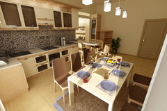 Beige kitchen_table view Stock Image