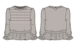 Beige knitted blouse with extensive decoration. Front and back view of pink knitted blouse with extensive decoration royalty free illustration
